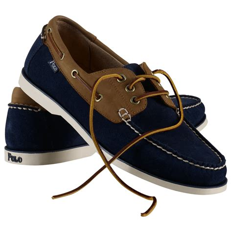 Navy Polo Boat Shoes by Polo Ralph Bienne Suede And Leather Boat Shoes In