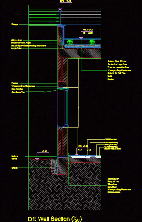 wall section dwg section  autocad designs cad