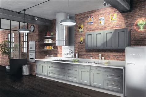 Brick Kitchen Cupboards by Gray Cabinets Paired With Brick Wall Kitchen Kitchens We