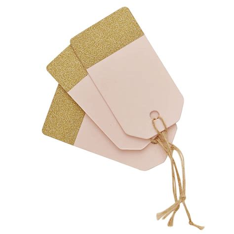 pastel pink and gold glitter luggage tags by ginger ray