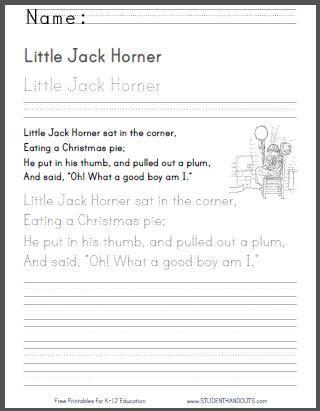 little horner nursery rhyme 2 free printable worksheets primary grades nursery