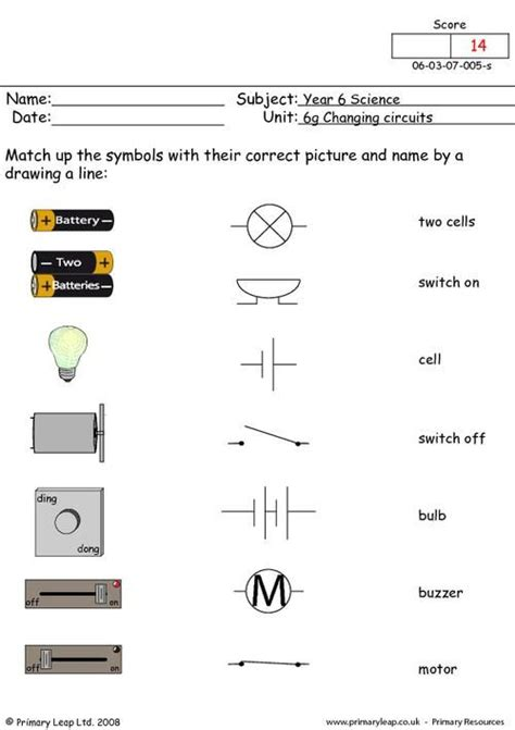 primaryleap co uk electrical symbols 1 worksheet