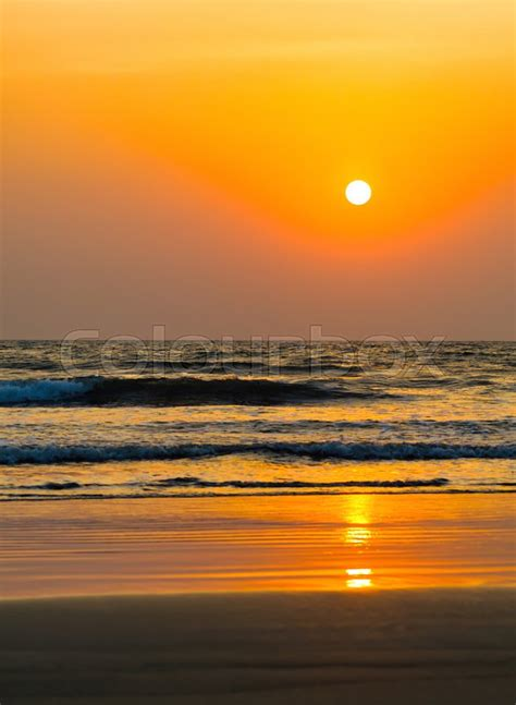 vertical vivid orange golden sunset  stock photo