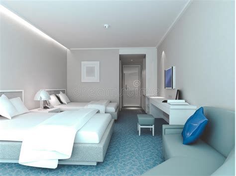 bedroom rendering hotel rooms stock illustration