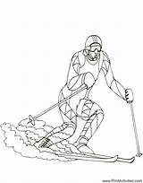 Coloring Olympic Downhill Skier Skiing Pages Popular sketch template