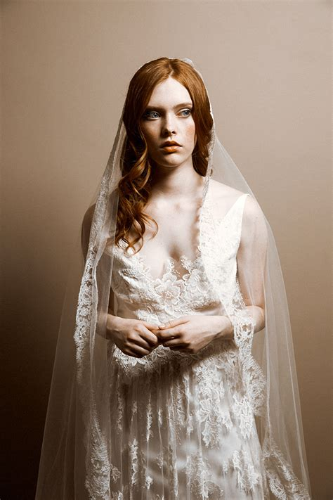 French Chantilly Lace Bridal Veil Wedding Veil Blusher
