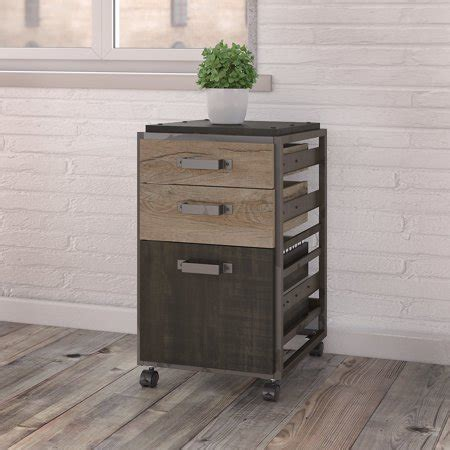 rustic wood file cabinet bush furniture refinery 3 drawer mobile file cabinet in