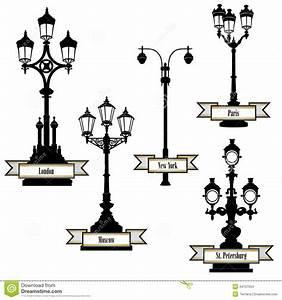 Street lamp set lights of london paris new york