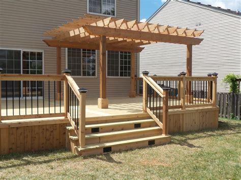 cedar deck pergola picture  deckscom outdoor decks  patios deck  pergola