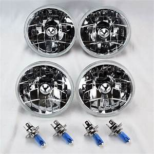 Four 5 75 U0026quot  5 3  4 Round H4 Clear Glass Headlight Conversion