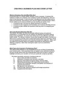 Cover Letter For A Business Plan Sle Business Plan And Cover Letter