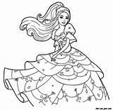 Coloring Gown Barbie Wearing Popular Nice sketch template
