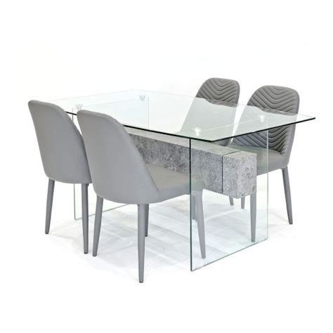 clear glass dining table and 4 chairs halley glass dining table rectangular in clear and 4 grey