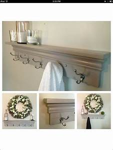 Decorative wall shelves with hooks : Best images about towel hooks in bathroom on