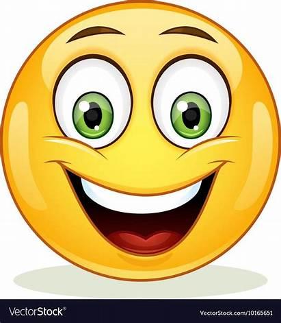 Emoji Smile Face Vectorstock Happy Toothy Emoticon