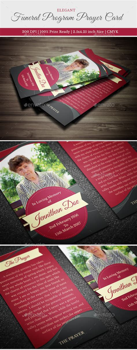elegant funeral prayer card template  creativesource