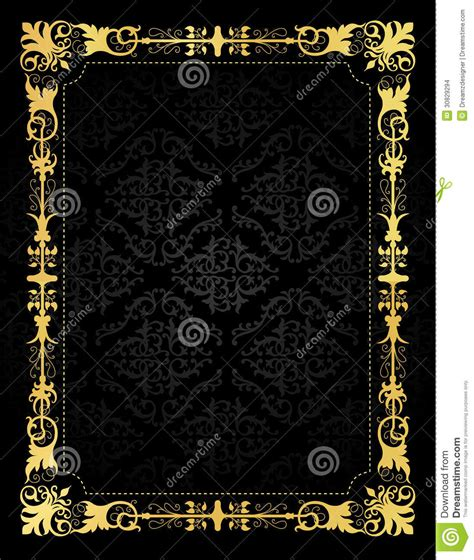 invitation card ornamental frame  damask backgr stock