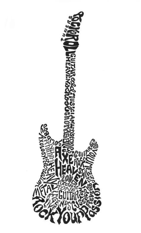 calligramme guitar  joni james text art typography