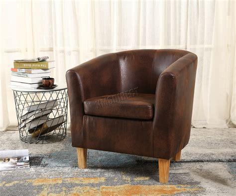 Westwood Vintage Brown Faux Leather Tub Chair Armchair