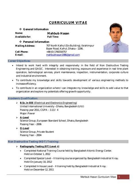 Employment Curriculum Vitae Sle by Mahbub Hasan Curriculum Vitae Updated Copy
