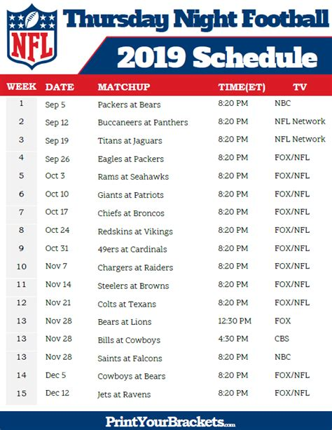 nfl thursday night football schedule  printable