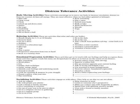 Distress Tolerance Worksheets Homeschooldressagecom