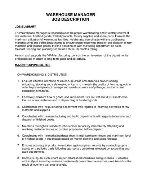 Warehouse Resume Sles by Warehouse Manager Description Teacheng Us