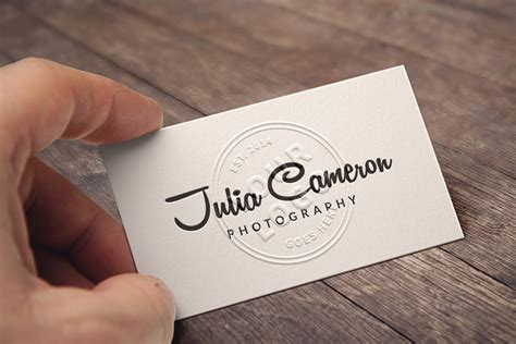 embossed  business card mockup template psd