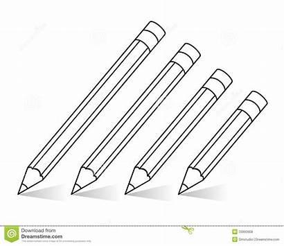 Pencils Clipart Pencil Outline Drawing Matite Vettore