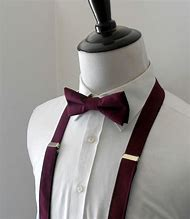 Burgundy Bow Tie and Suspenders for Men