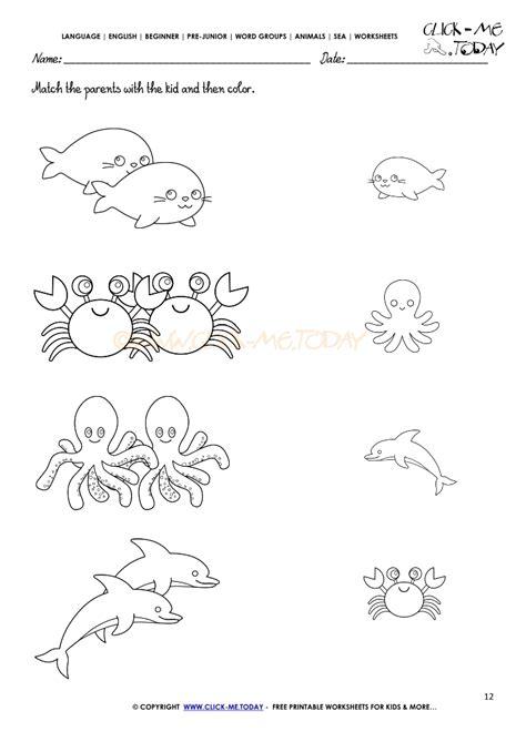 sea animals worksheets for preschoolers sea animals worksheet activity sheet match 12 614