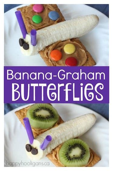 butterfly snacks a simple banana and decorated graham 487 | Banana Graham Butterflies healthy snack for toddlers and preschoolers copy