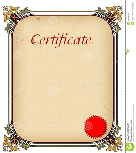 certificate  completion template royalty  stock
