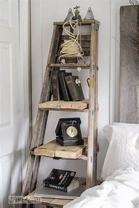 diy stepladder side table swanky decors With idee deco echelle bois