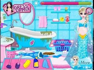 Juego de limpiar el baño con Elsa embarazada - YouTube