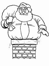 Santa Chimney Coloring Stuck Pages Christmas Yahoo Claus Found sketch template