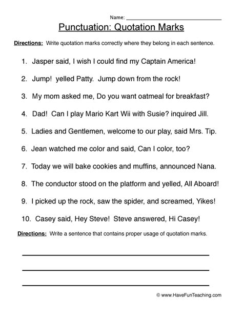 Quotation Marks  Punctuation Worksheet 3