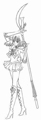 Sailor Coloring Saturn Moon Uranus Drawing sketch template