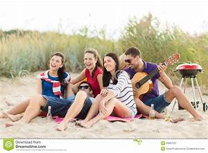 Group Of Friends Having Fun On The Beach Stock Image ...