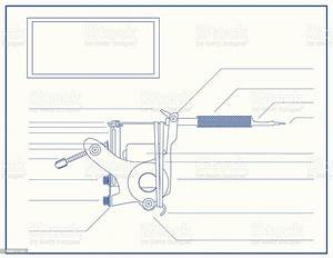 Blueprint Of A Tattoo Machine Stock Illustration