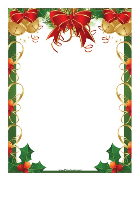 ribbons bells  holly christmas page border template