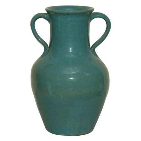 english green pottery vase signed pickfull  sale