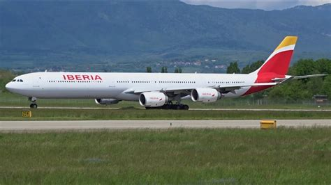 FullHD Iberia Airbus A340 600 landing & takeoff at
