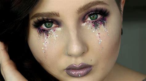glitter tears eye makeup tutorial jordan hanz youtube