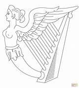 Harp Coloring Ireland Drawing Flag Printable Template Symbol Drawings Getdrawings Sketch Templates Popular sketch template