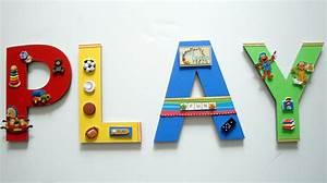 Playroom wall letters playroom wall art toys and games wall for Playroom wall letters