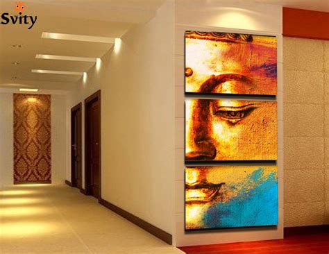 Home Decor Giveaways : Free Shipping Gold Buddha Oil Painting Wall Art Paintings