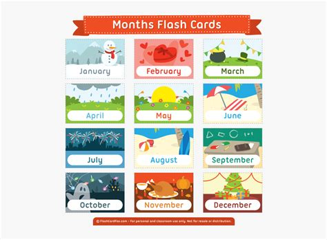 Free Printable Months Flash Cards - Month Of The Year ...