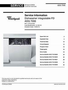 Whirlpool Adg 7000 Dishwasher Service Manual And