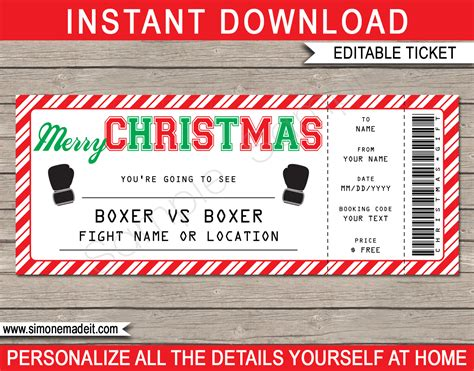 christmas boxing ticket gift voucher printable boxing
